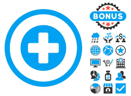 firstaid: Create icon with bonus elements. Vector illustration style is flat iconic bicolor symbols, blue and gray colors, white background. Illustration