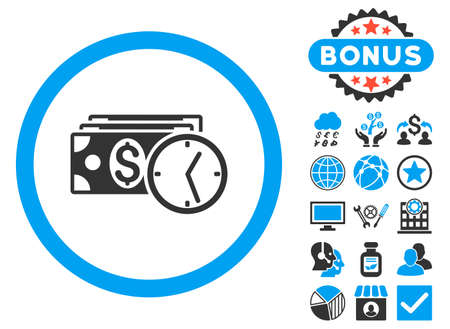 timed: Credit icon with bonus elements. Vector illustration style is flat iconic bicolor symbols, blue and gray colors, white background. Illustration