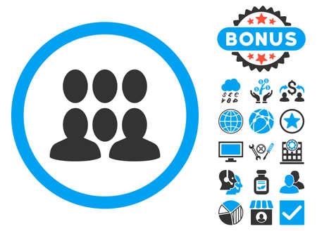 Crowd icon with bonus elements. Vector illustration style is flat iconic bicolor symbols, blue and gray colors, white background.