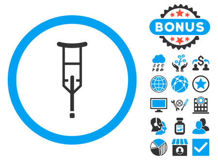 geriatrics: Crutch icon with bonus pictures. Vector illustration style is flat iconic bicolor symbols, blue and gray colors, white background.