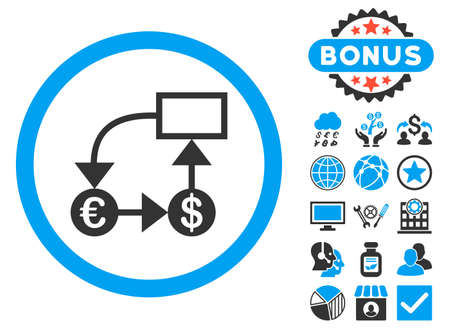 cash flows: Currency Flow Chart icon with bonus elements. Vector illustration style is flat iconic bicolor symbols, blue and gray colors, white background. Illustration