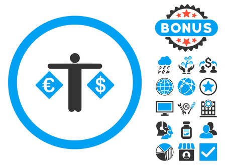 trader: Currency Trader icon with bonus images. Vector illustration style is flat iconic bicolor symbols, blue and gray colors, white background.