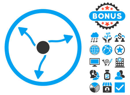 upside: Curve Arrows icon with bonus design elements. Vector illustration style is flat iconic bicolor symbols, blue and gray colors, white background.