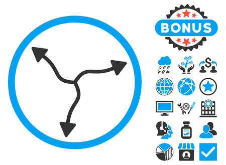 Curve Arrows icon with bonus pictures. Vector illustration style is flat iconic bicolor symbols, blue and gray colors, white background.