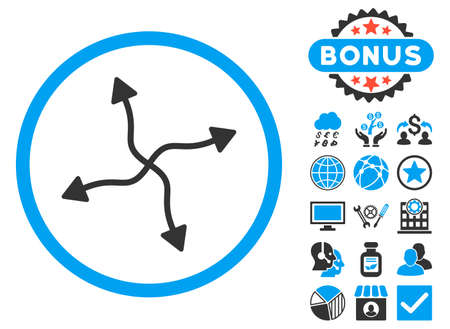 Curve Arrows icon with bonus images. Vector illustration style is flat iconic bicolor symbols, blue and gray colors, white background. Illustration