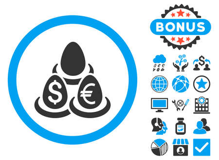 Currency Deposit Diversification icon with bonus pictures. Vector illustration style is flat iconic bicolor symbols, blue and gray colors, white background.