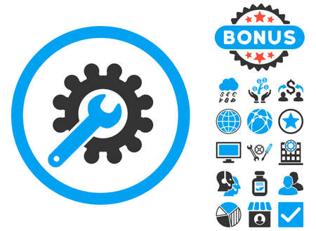 power wrench: Customization icon with bonus elements. Vector illustration style is flat iconic bicolor symbols, blue and gray colors, white background. Illustration