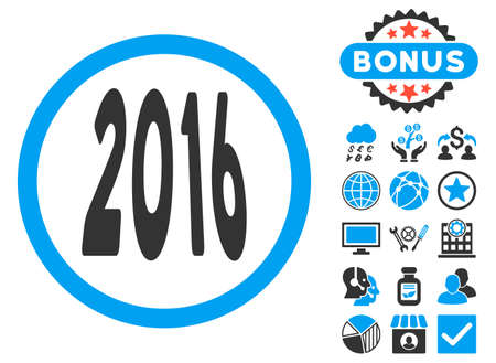 2016 Perspective icon with bonus. Glyph illustration style is flat iconic bicolor symbols, blue and gray colors, white background.