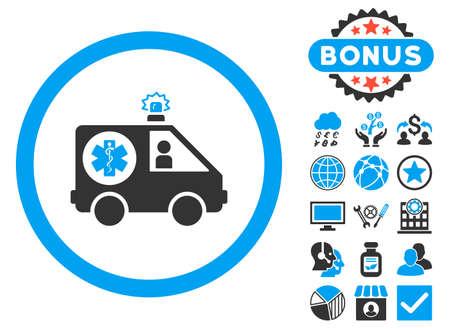 Ambulance Car icon with bonus symbols. Glyph illustration style is flat iconic bicolor symbols, blue and gray colors, white background.