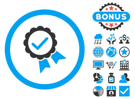 Approved icon with bonus symbols. Glyph illustration style is flat iconic bicolor symbols, blue and gray colors, white background. Stock Photo