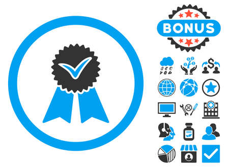 Approvement Seal icon with bonus images. Glyph illustration style is flat iconic bicolor symbols, blue and gray colors, white background.