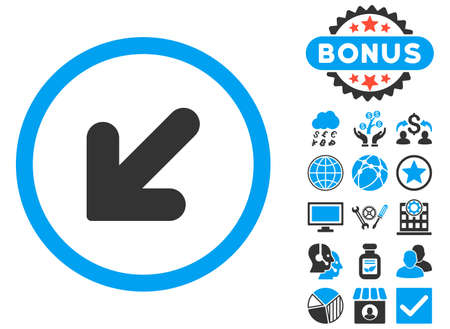 inclination: Arrow Down Left icon with bonus images. Glyph illustration style is flat iconic bicolor symbols, blue and gray colors, white background.