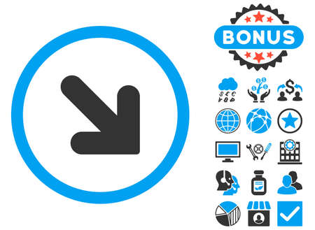 Arrow Down Right icon with bonus design elements. Glyph illustration style is flat iconic bicolor symbols, blue and gray colors, white background. Stock Photo