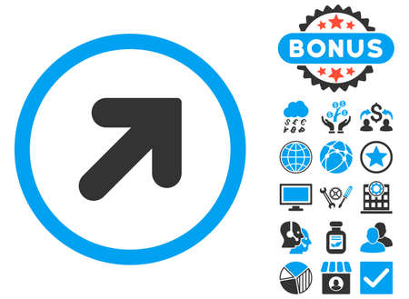 Arrow Up Right icon with bonus pictures. Glyph illustration style is flat iconic bicolor symbols, blue and gray colors, white background.