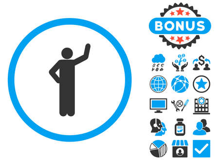 elect: Assurance icon with bonus pictures. Glyph illustration style is flat iconic bicolor symbols, blue and gray colors, white background.
