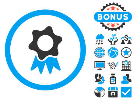 Award Seal icon with bonus elements. Glyph illustration style is flat iconic bicolor symbols, blue and gray colors, white background.