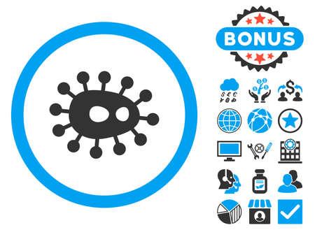ameba: icono de bacilos con imágenes de bonificación. estilo de ilustración glifo es plana símbolos icónicos bicolor, colores azul y gris, fondo blanco.