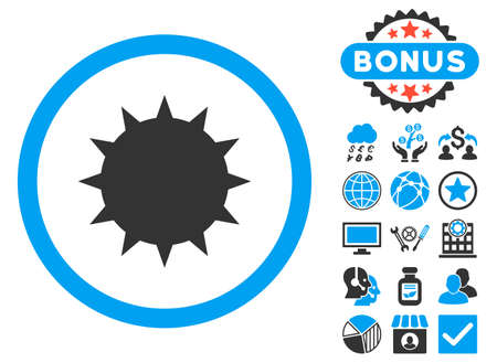 Bacterium icon with bonus images. Glyph illustration style is flat iconic bicolor symbols, blue and gray colors, white background.