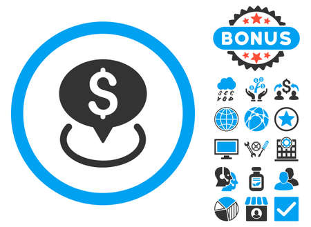 Bank Location icon with bonus images. Glyph illustration style is flat iconic bicolor symbols, blue and gray colors, white background. Stock Photo