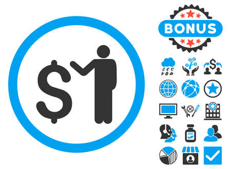 banker: Banker icon with bonus design elements. Glyph illustration style is flat iconic bicolor symbols, blue and gray colors, white background. Stock Photo