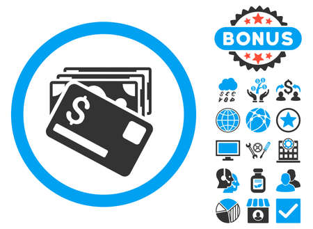 Banknotes and Card icon with bonus images. Glyph illustration style is flat iconic bicolor symbols, blue and gray colors, white background.