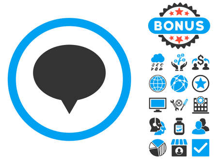 Banner icon with bonus pictures. Glyph illustration style is flat iconic bicolor symbols, blue and gray colors, white background.
