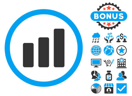 Bar Chart Increase icon with bonus symbols. Glyph illustration style is flat iconic bicolor symbols, blue and gray colors, white background. Stock Photo