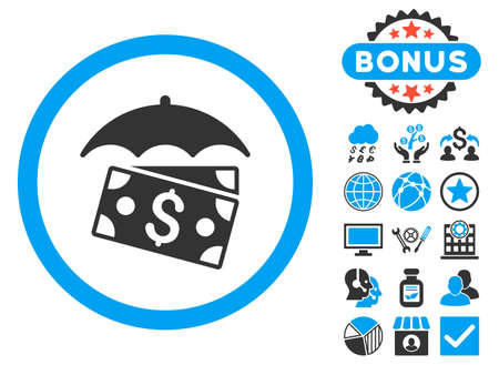 banknotes: Banknotes Umbrella icon with bonus design elements. Glyph illustration style is flat iconic bicolor symbols, blue and gray colors, white background. Stock Photo