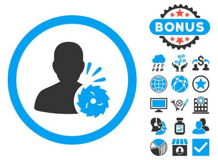 execution: Body Execution icon with bonus symbols. Glyph illustration style is flat iconic bicolor symbols, blue and gray colors, white background. Stock Photo