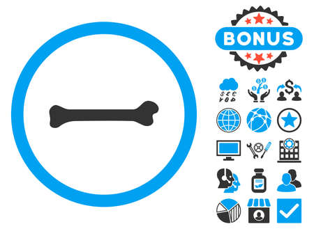 Bone icon with bonus elements. Glyph illustration style is flat iconic bicolor symbols, blue and gray colors, white background.