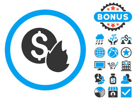 Burn Money icon with bonus design elements. Glyph illustration style is flat iconic bicolor symbols, blue and gray colors, white background.