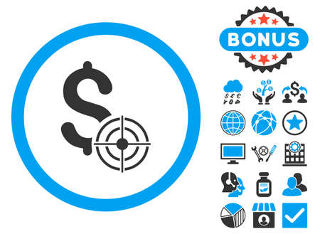 Business Target icon with bonus images. Glyph illustration style is flat iconic bicolor symbols, blue and gray colors, white background.