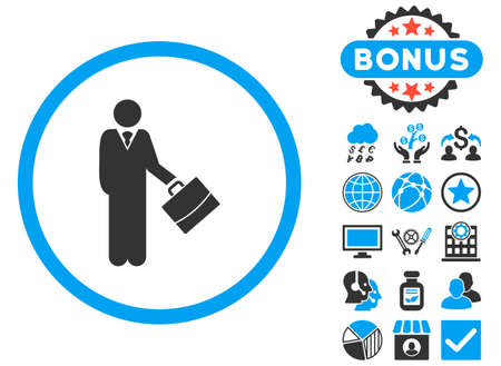 moneymaker: Businessman icon with bonus pictogram. Glyph illustration style is flat iconic bicolor symbols, blue and gray colors, white background.