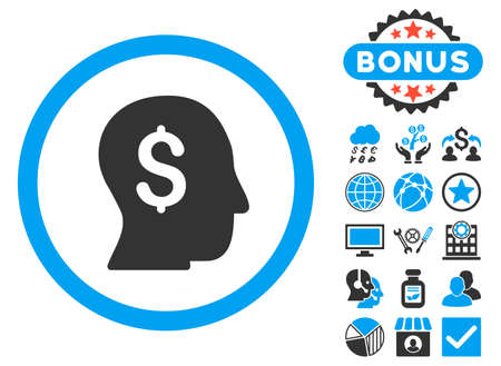 stockbroker: Businessman icon with bonus elements. Glyph illustration style is flat iconic bicolor symbols, blue and gray colors, white background. Stock Photo