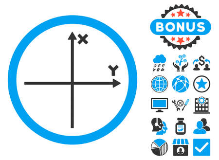 Cartesian Axis icon with bonus pictures. Glyph illustration style is flat iconic bicolor symbols, blue and gray colors, white background. Stock Photo