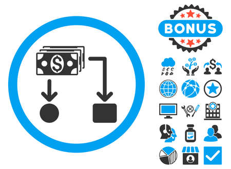 cashflow: Cashflow icon with bonus elements. Glyph illustration style is flat iconic bicolor symbols, blue and gray colors, white background.