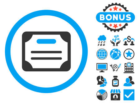 attest: Certificate icon with bonus pictures. Glyph illustration style is flat iconic bicolor symbols, blue and gray colors, white background.