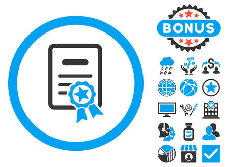 attest: Certified Diploma icon with bonus images. Glyph illustration style is flat iconic bicolor symbols, blue and gray colors, white background. Stock Photo