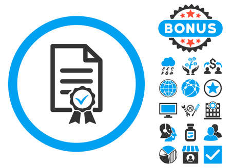 Certified icon with bonus pictogram. Glyph illustration style is flat iconic bicolor symbols, blue and gray colors, white background.
