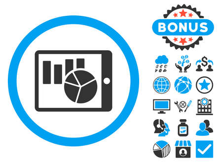 Charts on Pda icon with bonus symbols. Glyph illustration style is flat iconic bicolor symbols, blue and gray colors, white background.