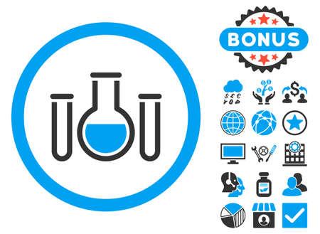 Icône des navires chimiques avec des images bonus. Le style d'illustration de glyphe est plat emblématique bicolor symboles, couleurs bleues et grises, fond blanc.