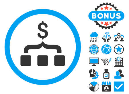 Collect Money icon with bonus pictures. Glyph illustration style is flat iconic bicolor symbols, blue and gray colors, white background.