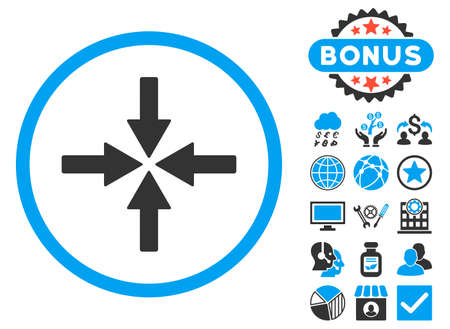 collide: Collide Arrows icon with bonus elements. Glyph illustration style is flat iconic bicolor symbols, blue and gray colors, white background.