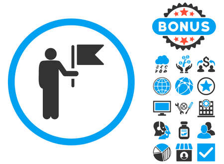 commander: Commander icon with bonus pictogram. Glyph illustration style is flat iconic bicolor symbols, blue and gray colors, white background.