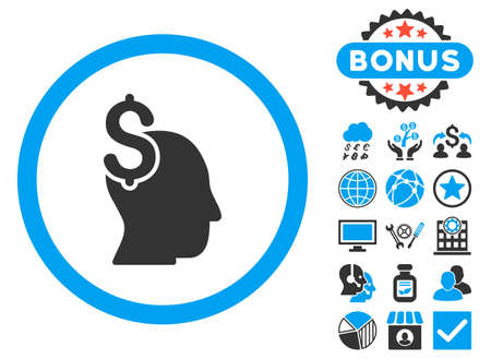 intellect: Commercial Intellect icon with bonus pictures. Glyph illustration style is flat iconic bicolor symbols, blue and gray colors, white background. Stock Photo