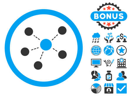 Connections icon with bonus design elements. Glyph illustration style is flat iconic bicolor symbols, blue and gray colors, white background.