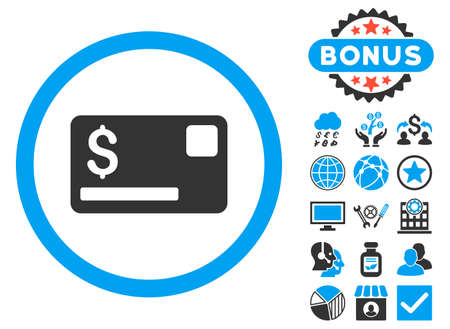 Credit Card icon with bonus pictures. Glyph illustration style is flat iconic bicolor symbols, blue and gray colors, white background.