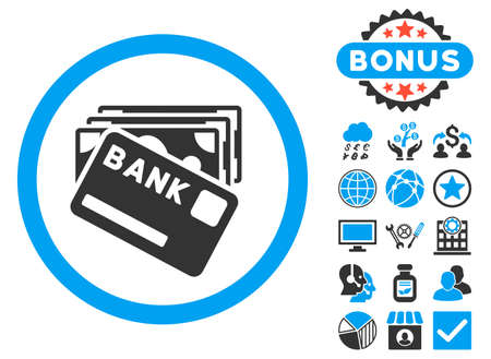 Credit Money icon with bonus pictures. Glyph illustration style is flat iconic bicolor symbols, blue and gray colors, white background. Stock Photo