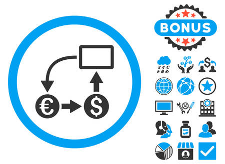 cashflow: Cashflow Euro Exchange icon with bonus pictogram. Vector illustration style is flat iconic bicolor symbols, blue and gray colors, white background.
