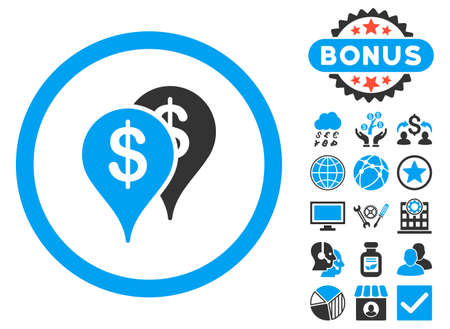 locations: Bank Locations icon with bonus pictures. Vector illustration style is flat iconic bicolor symbols, blue and gray colors, white background. Illustration
